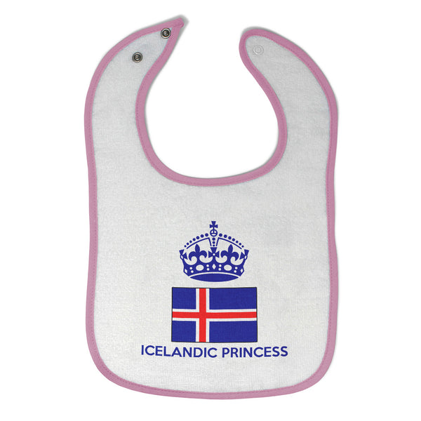 Baby Girl Bibs Icelandic Princess Crown Countries Burp Cloths Contrast Trim