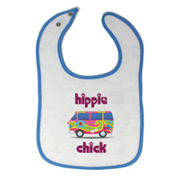 Cloth Bibs for Babies Minibus Dark Pink Hippie Chick Funny Humor Cotton - Cute Rascals