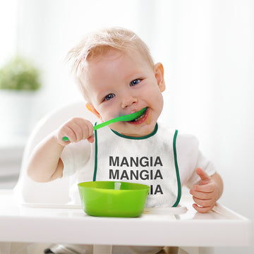 Cloth Bibs for Babies Mangia Mangia Mangia Eat Funny Humor Baby Accessories