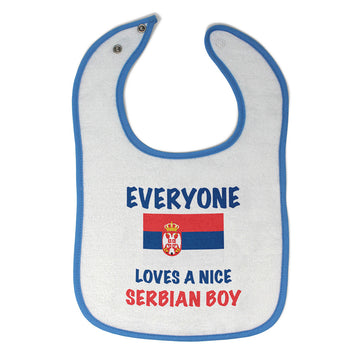 Baby Boy Bibs Everyone Loves A Nice Serbian Boy Burp Cloths Contrast Trim Cotton