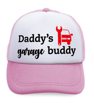 Kids Trucker Hats Daddy's Garage Buddy Mechanic Dad Father's Day Cotton