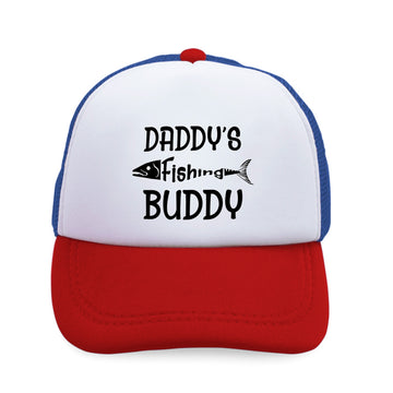Kids Trucker Hats Daddy's Fishing Buddy Fisherman Dad Father's Day Cotton