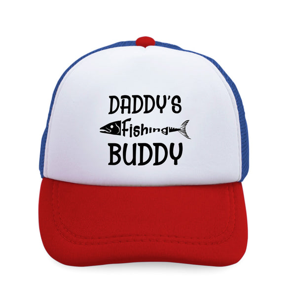 Kids Trucker Hats Daddy's Fishing Buddy Fisherman Dad Father's Day Cotton - Cute Rascals