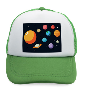 Kids Trucker Hats Our Solar System Planets Funny Humor Boys Hats & Girls Hats