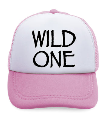 Kids Trucker Hats Wild 1 Year Old First Birthday Funny Humor Style B Cotton