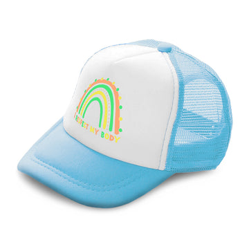 Kids Trucker Hats I Respect My Body Rainbow Boys Hats & Girls Hats Cotton