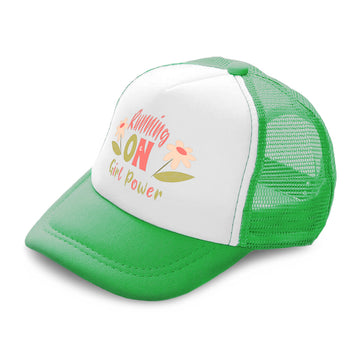 Kids Trucker Hats Running on Girl Power Flowers Boys Hats & Girls Hats Cotton