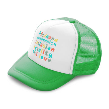 Kids Trucker Hats Kindness Compassion Inclusion Equality Love Cotton