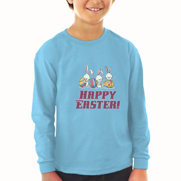 Baby Clothes Happy Easter! 3 Rabbit with Easter Colourful Eggs Cotton