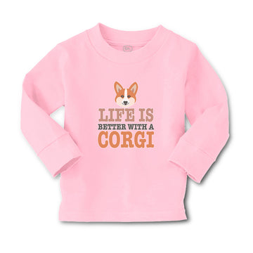 Baby Clothes Life Is Better with A Corgi Dog with Face Boy & Girl Clothes Cotton