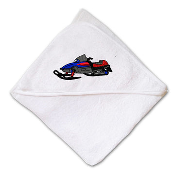 Baby Hooded Towel Royal Blue Snowmobile Embroidery Kids Bath Robe Cotton