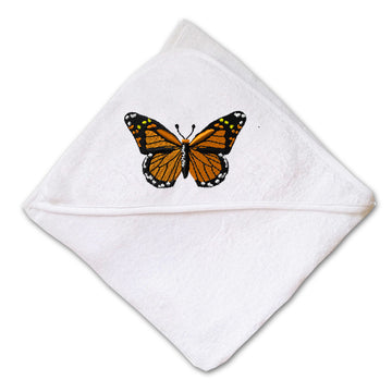 Baby Hooded Towel Monarch Butterfly Embroidery Kids Bath Robe Cotton