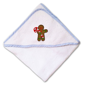 Baby Hooded Towel Gingerbread Man Embroidery Kids Bath Robe Cotton
