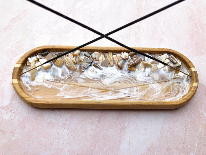 Tan Seashell Double Incense Holder