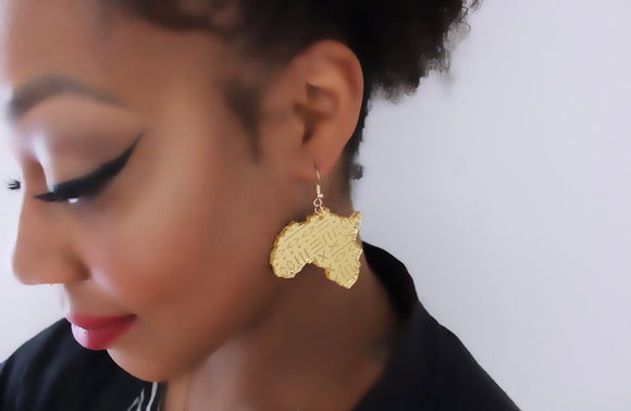 Mudcloth Engraved Africa Earrings