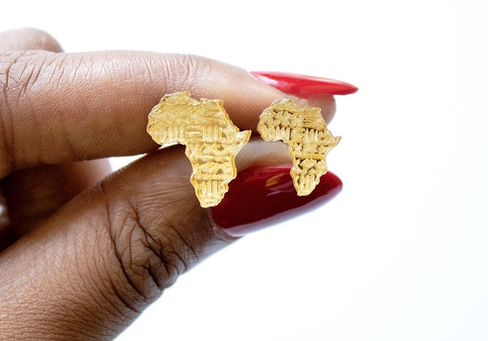 Mud Cloth Engraved Africa Stud Earrings