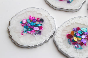 Rainbow Seashell Agate Coaster Set