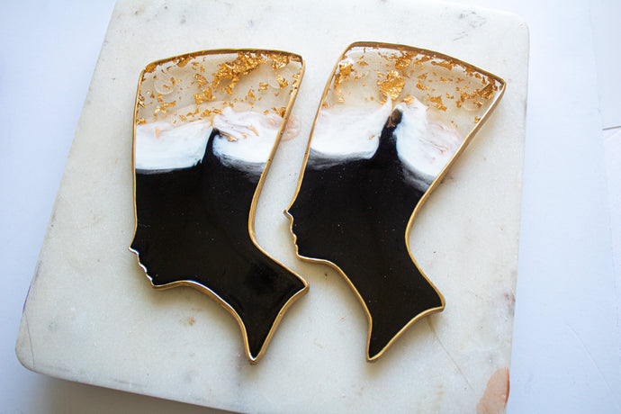 Gold Flake Crown Nefertiti Coasters
