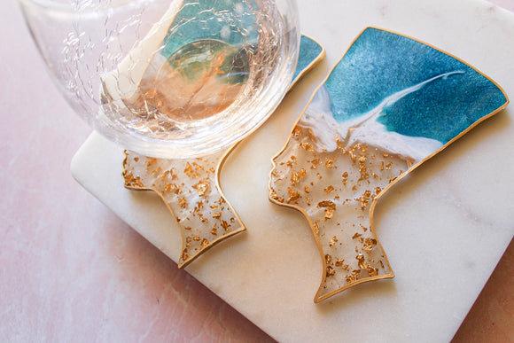 24K Gold Flake Nefertiti Coaster Set