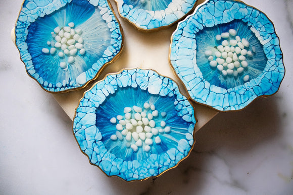 Blue & White Agate Coaster Set