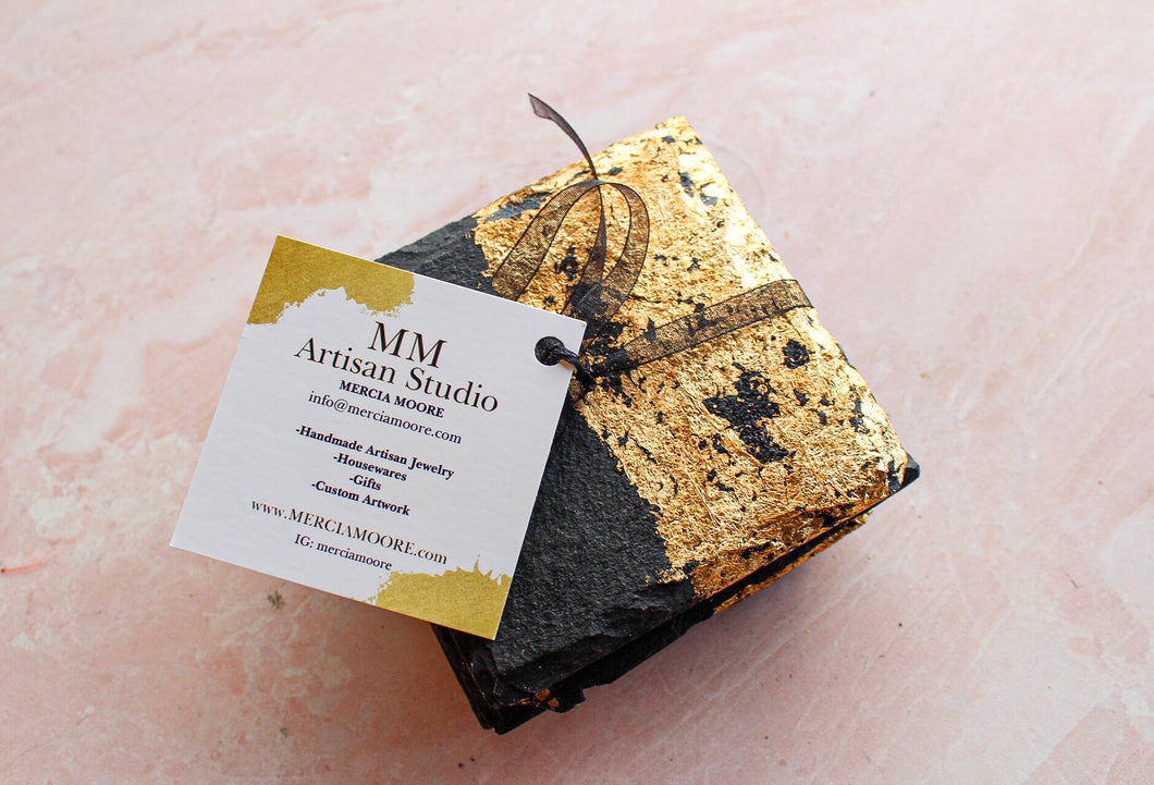 Gold Flake Slate Coaster