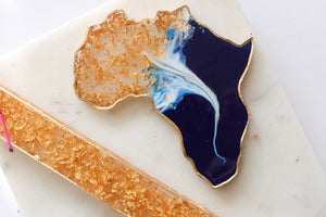 Blue & White Gold Flake Incense & Africa Coaster Set