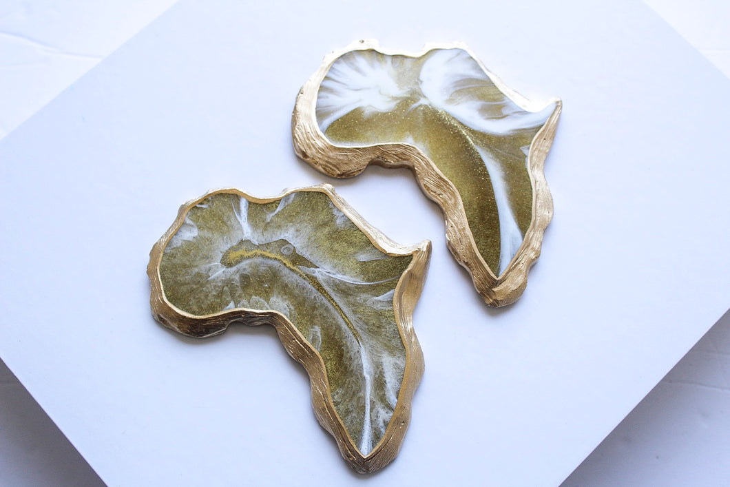 White & Gold Africa Coaster Sets