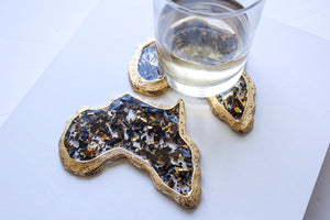 Black & Gold Flake Africa Coaster Set