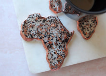 Load image into Gallery viewer, Rose Gold & Black Flake Africa Coaster Set