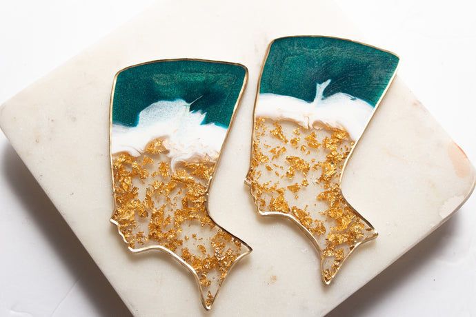 Emerald Green Gold Flake Nefertiti Coaster Set