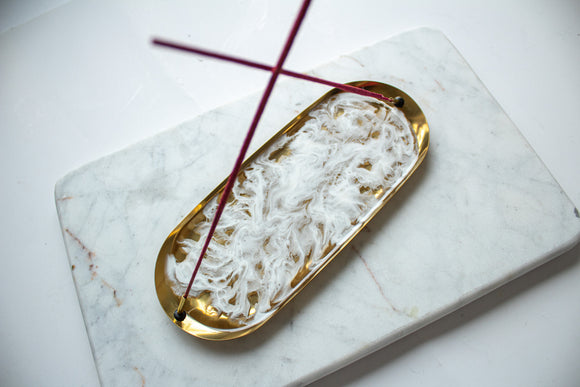 Gold Rolling Tray & Incense Holder