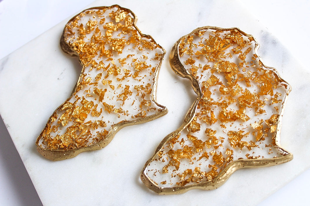 24K Gold Flake Agate Africa Coaster Set