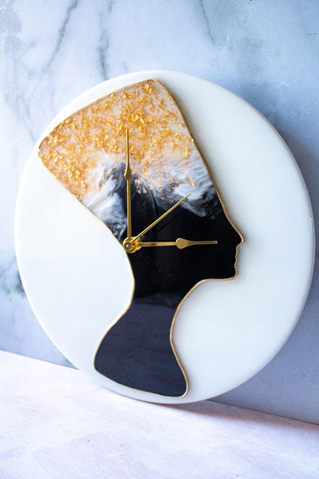 Black & 24K Gold Flake Nefertiti Clock