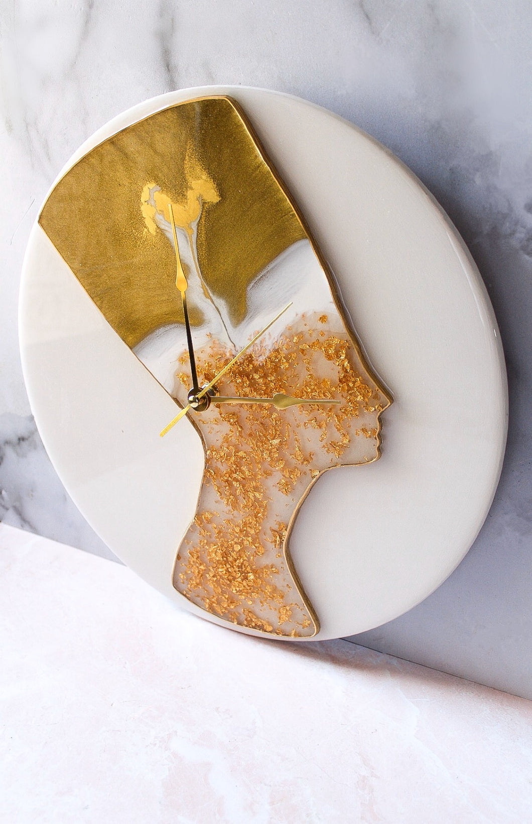24K Gold Flake Nefertiti Clock