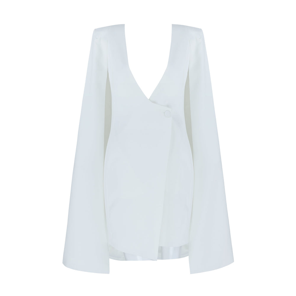 'Camellia' White Luxe Tuxedo Dress - Shop Secret Showroom
