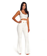 'Akira' Gold Button Detail High Waisted White Bandage Pants - Shop Secret Showroom
