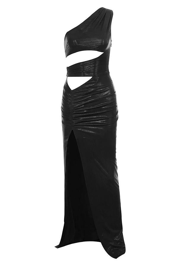 'Opium' Black Cut Out Maxi Dress