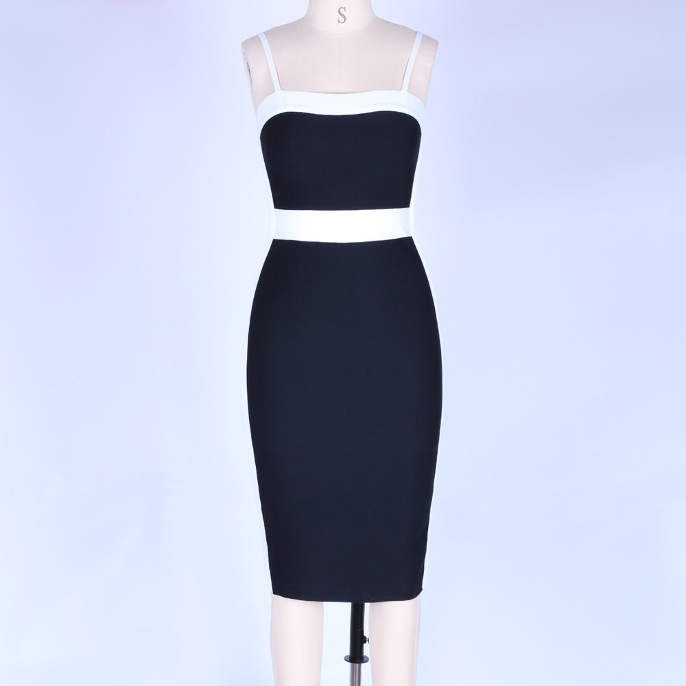 'Nicole' Black & White Bandage Dress