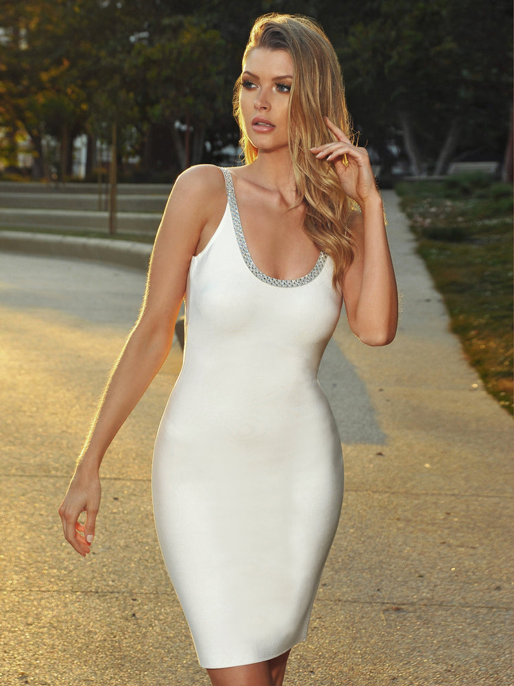 'Blanca' Crystal Embellished White Bandage Dress - Shop Secret Showroom