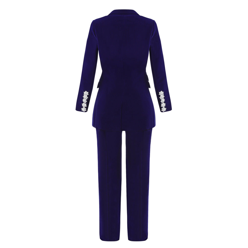 'Tanya' Royal Blue Velvet Two Piece Suit - LIMITED EDITION