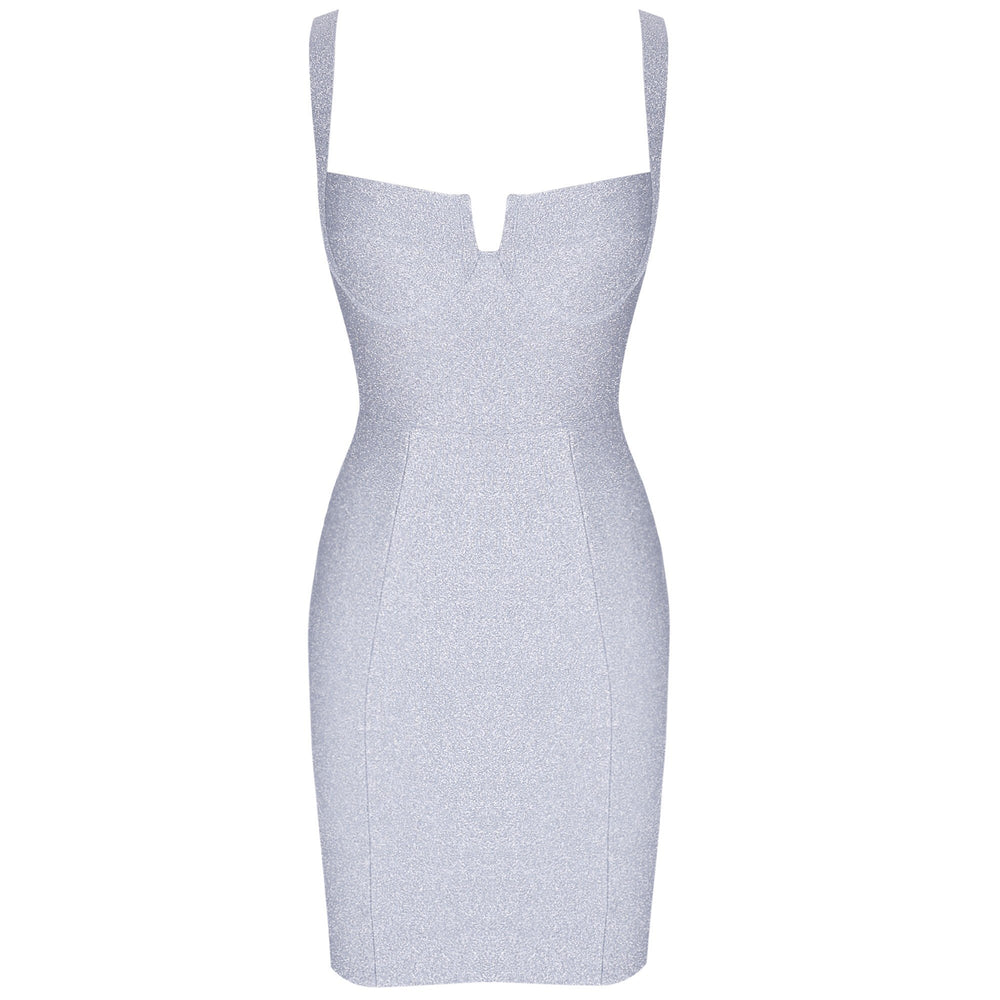 'Julia' Silver Sparkly Bustier Mini Dress - Shop Secret Showroom