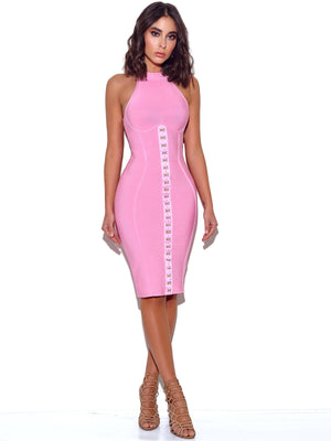 'Ravel' Soft Pink Halter Bandage Dress