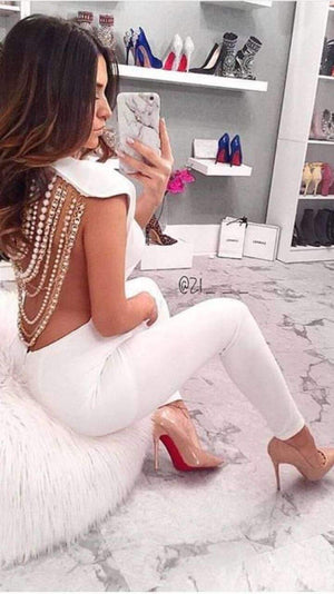 'Fabianne' White Bandage Jumpsuit - Shop Secret Showroom