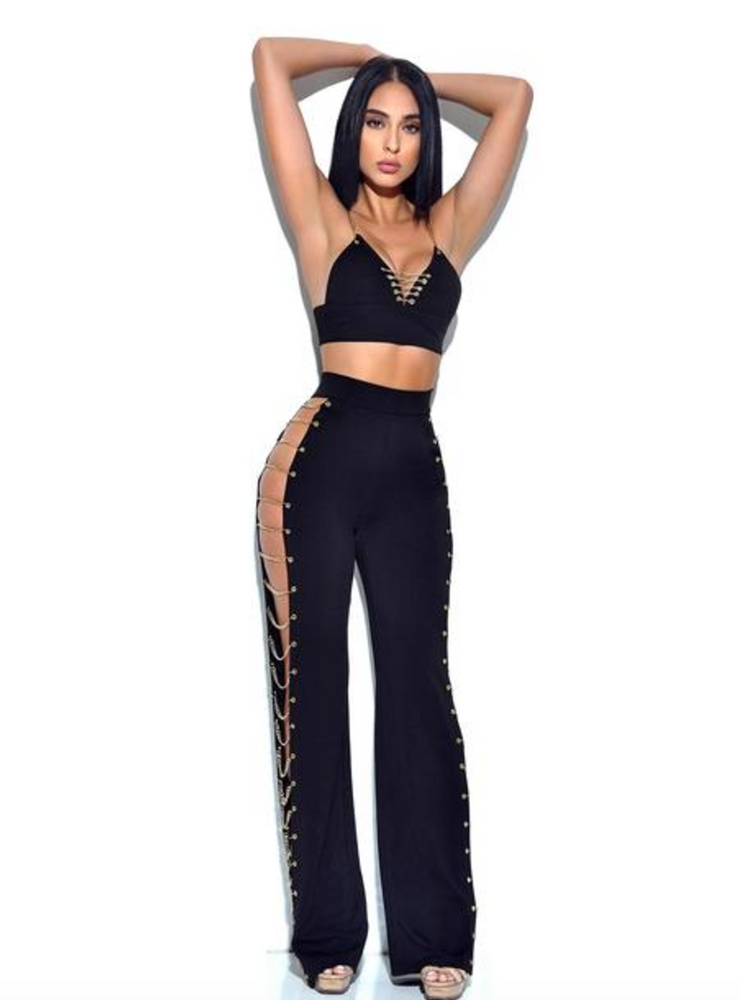 'Amina' Black Bodycon 2 Piece - Shop Secret Showroom
