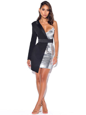 'Peoni' Silver Night One Sleeved Sequin Tuxedo Blazer Dress