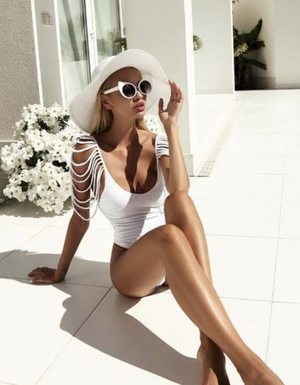 'Brenda' Hollow Out Sexy White Monokini - Shop Secret Showroom