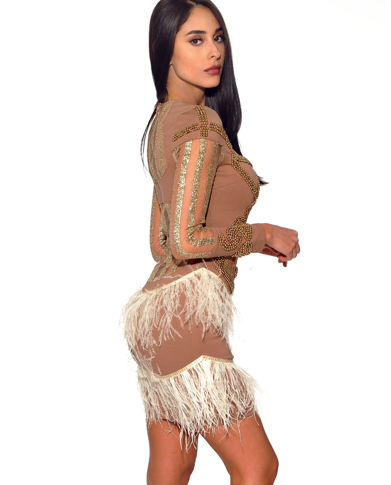 'Aya' Luxury Gold Bodycon Feather Dress - Shop Secret Showroom