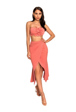 Suri Salmon Pink High Waisted Stretch Crepe 2 Piece