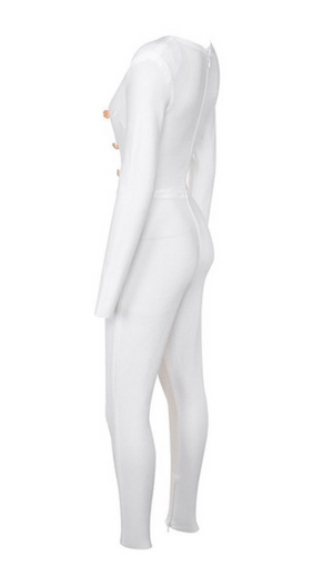 'Aliena' White Bandage Exteme Plunge Jumpsuit - Shop Secret Showroom