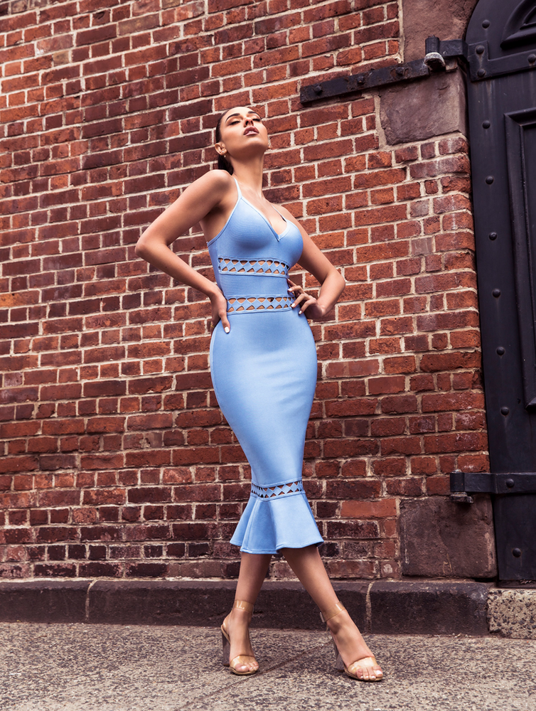 'Claudia' Light Blue Cut Out Detail Mermaid Bottom Bandage Dress